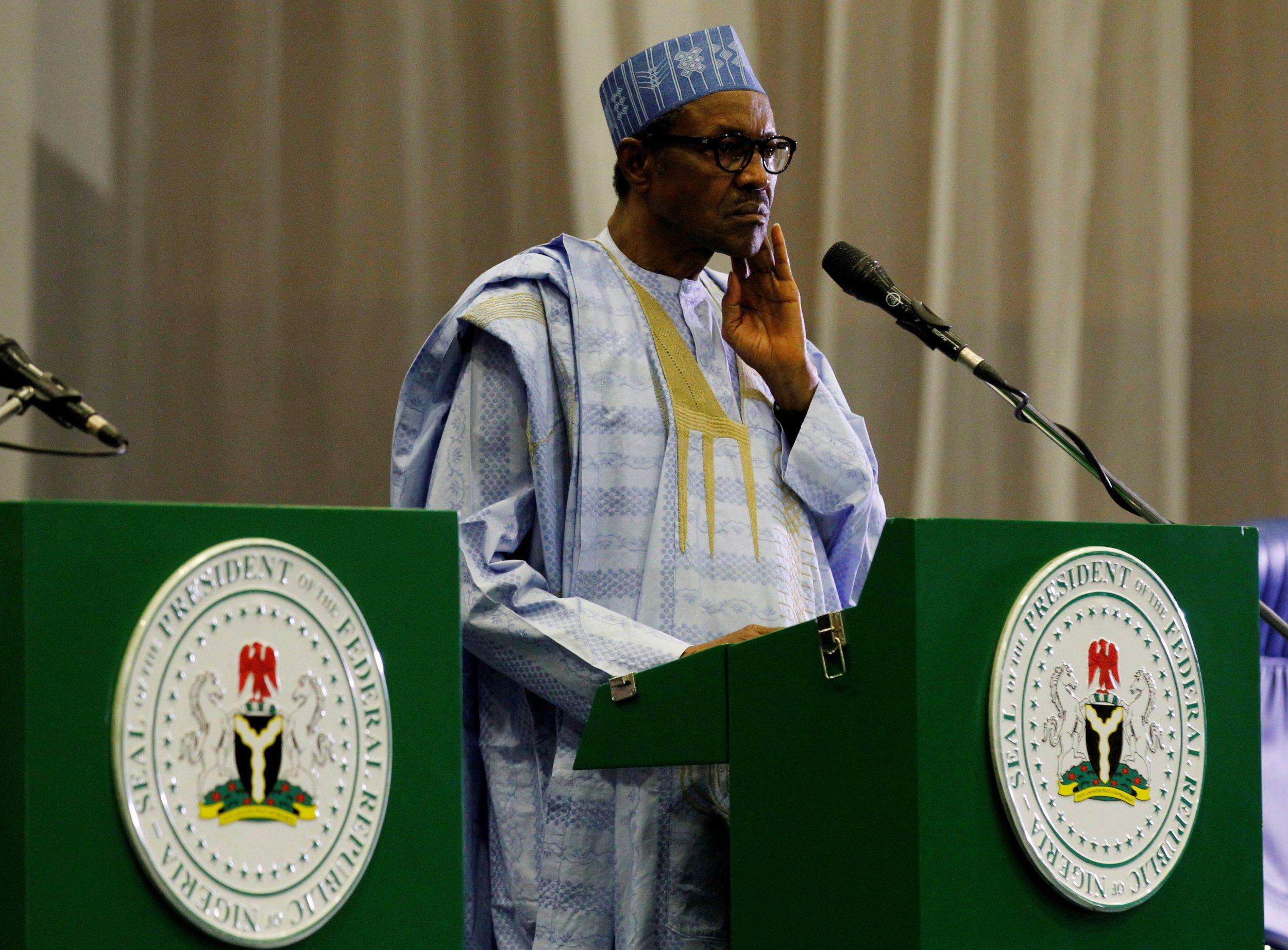 Nigerian President Muhammadu Buhari speaks at a news conference