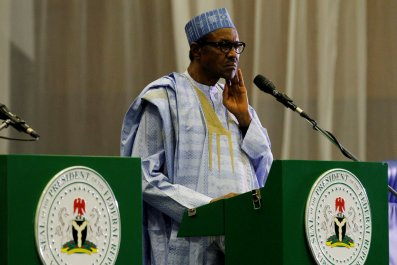 Nigerian President Muhammadu Buhari speaks at a news conference