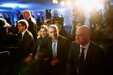 Jose Mourinho, second from right, with FIFA President Gianni Infantino, right.