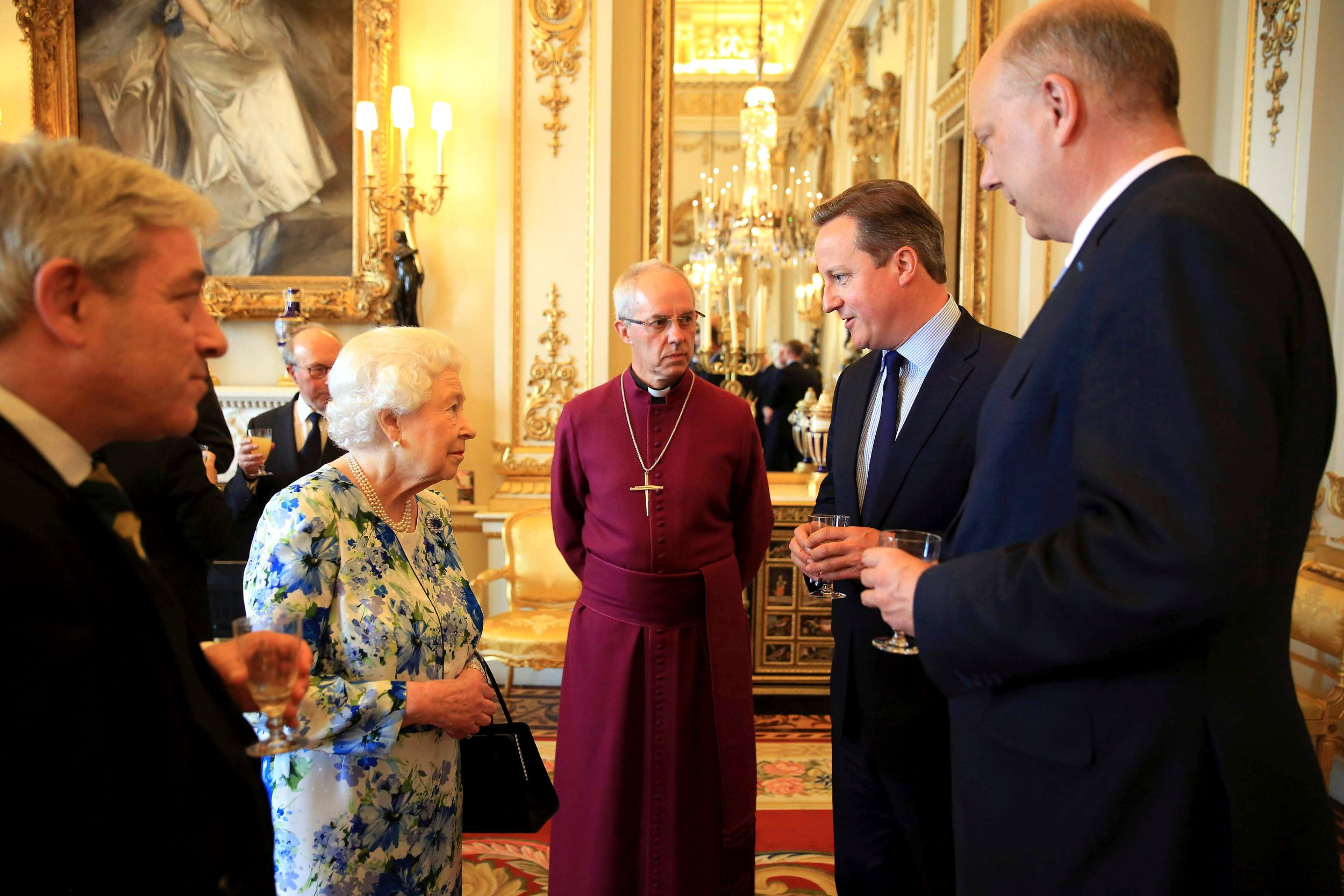 David Cameron speaks to Queen and Archbishop of Canterbury.