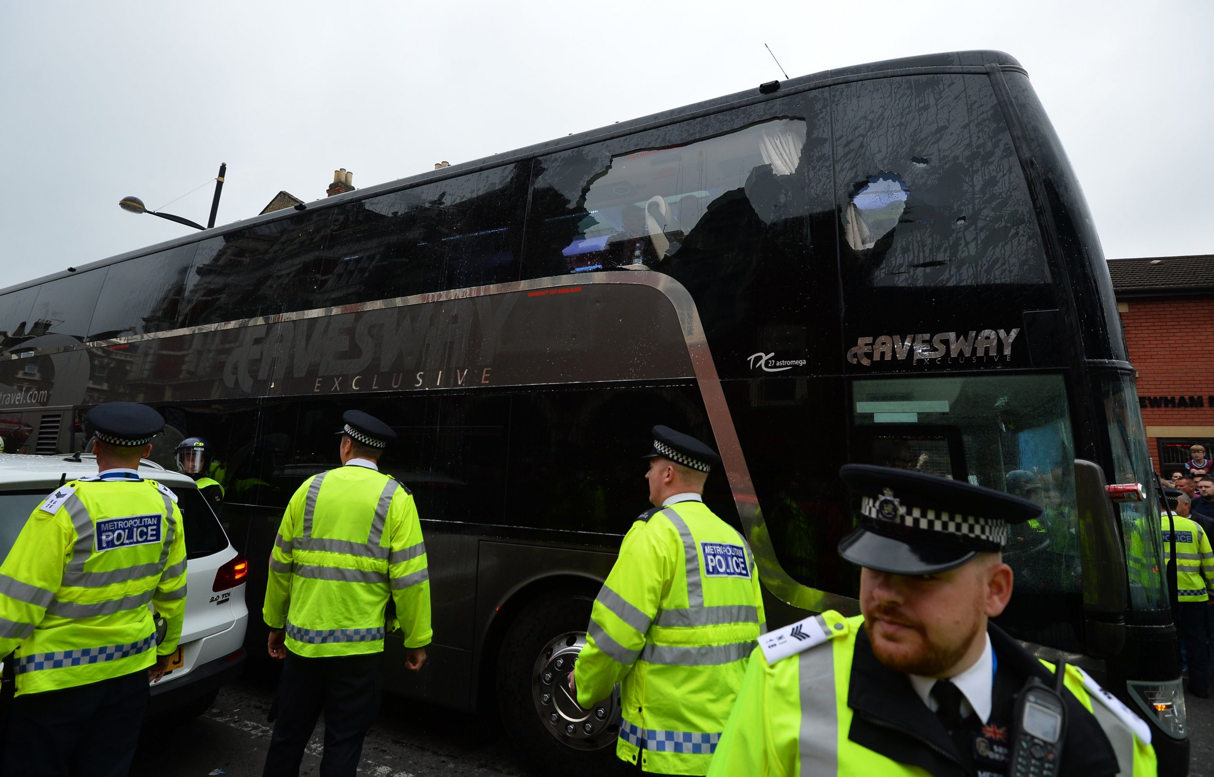 The Manchester United team bus