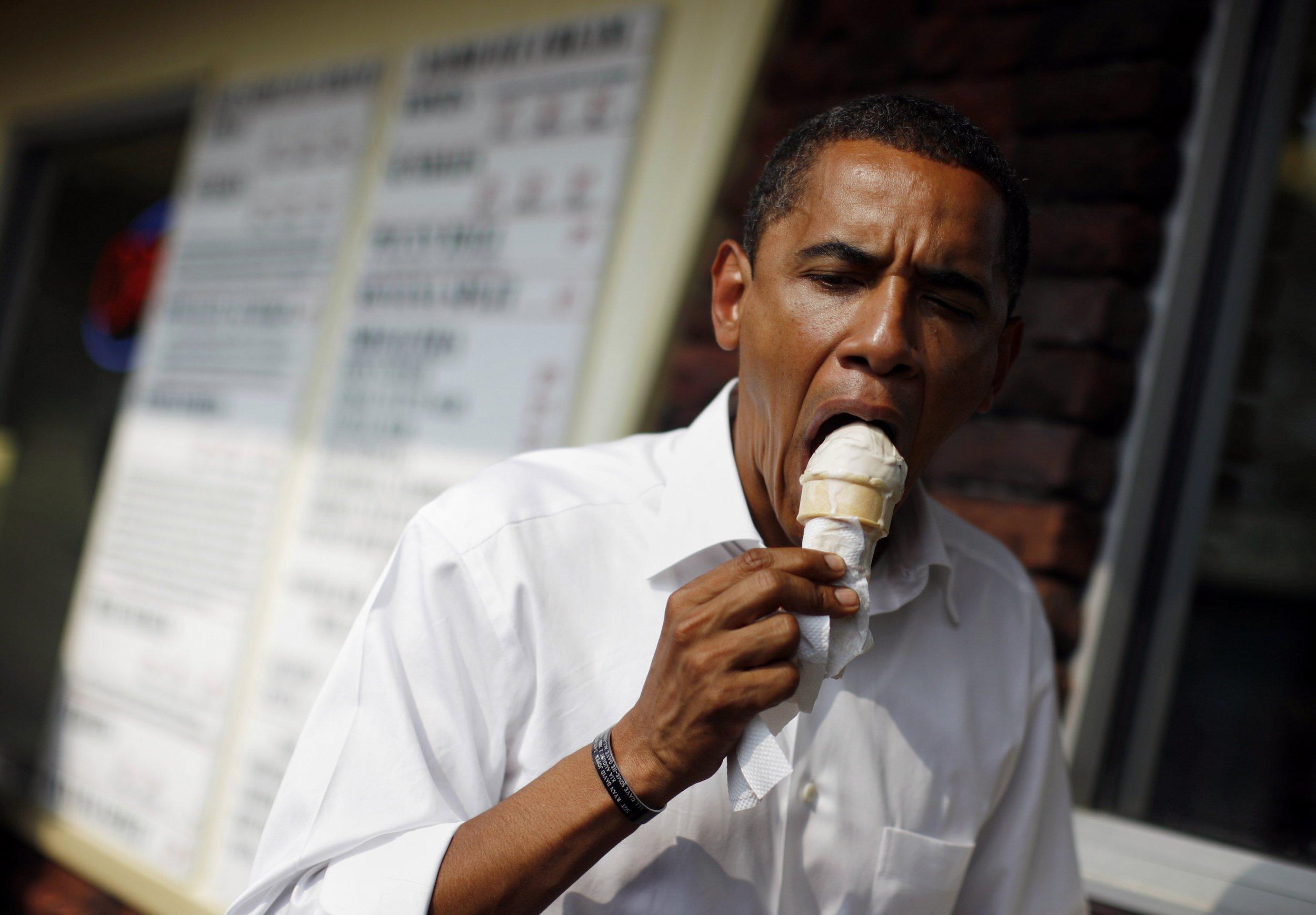 Barack Obama eats ice cream