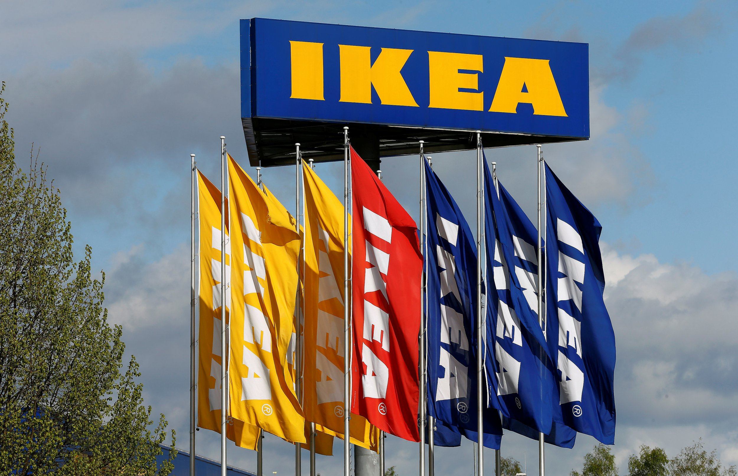 Flags Outside An Ikea Store In Spreitenbach, Switzerland, April 27, 2016.  An Ikea Restaurant Is Set To Open In Paris, Staffed By Amateur Chefs.