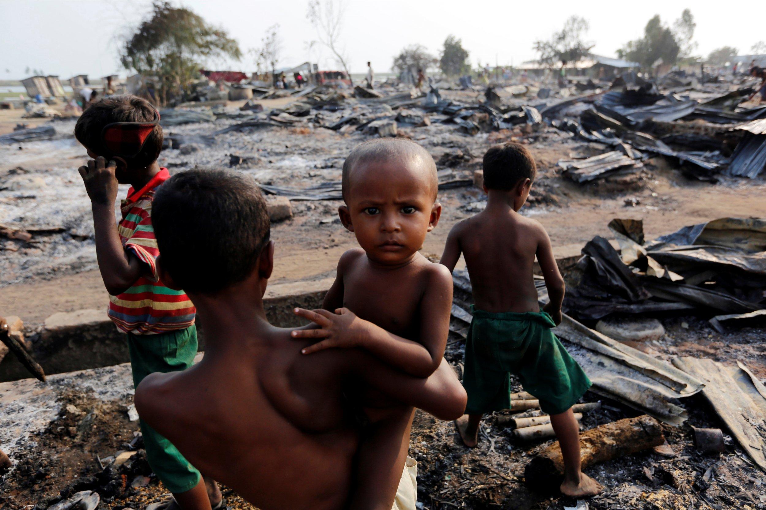 Camp for internally displaced Rohingya Muslims in Myanmar