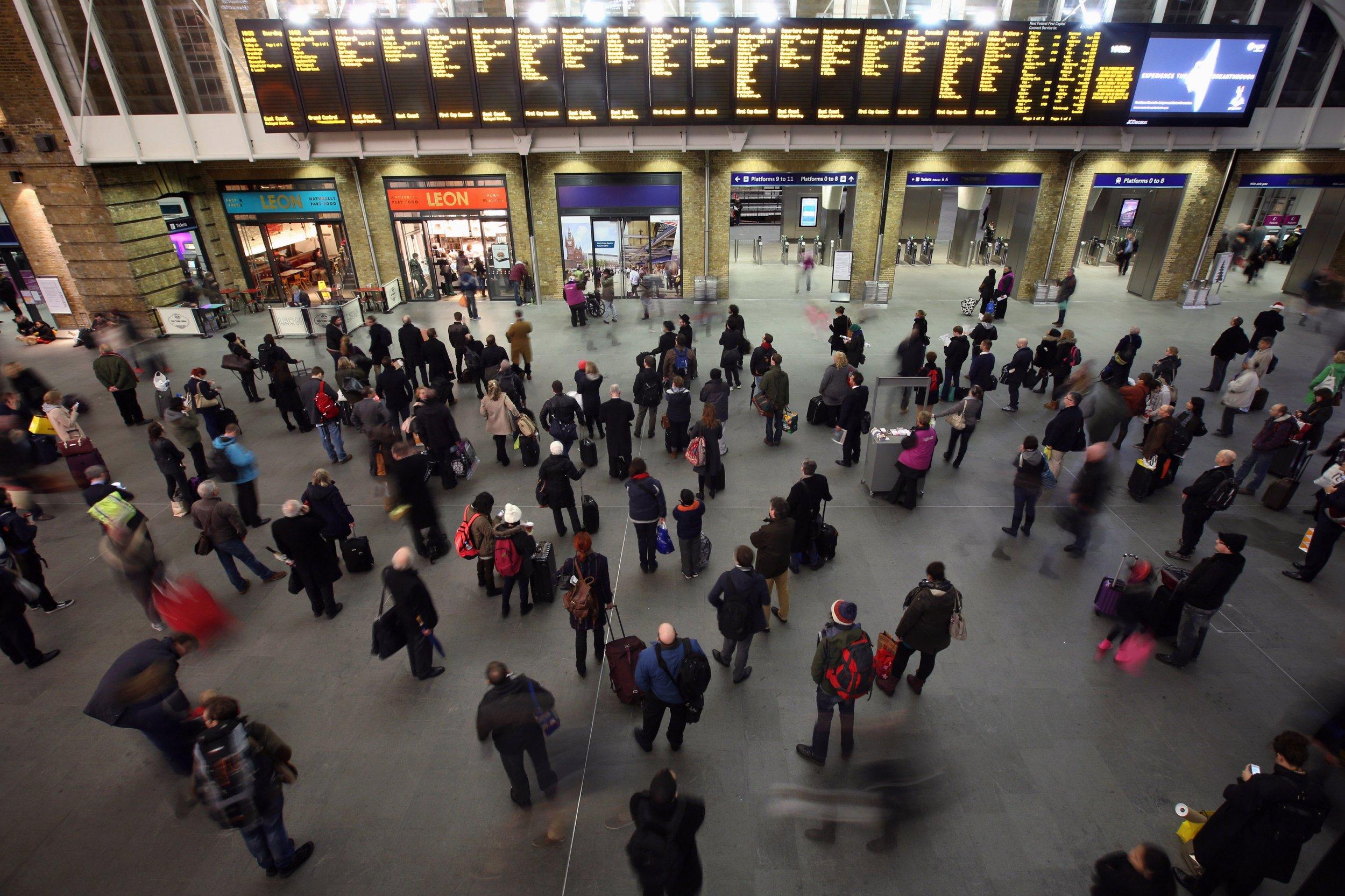 Passengers in King's Cross station