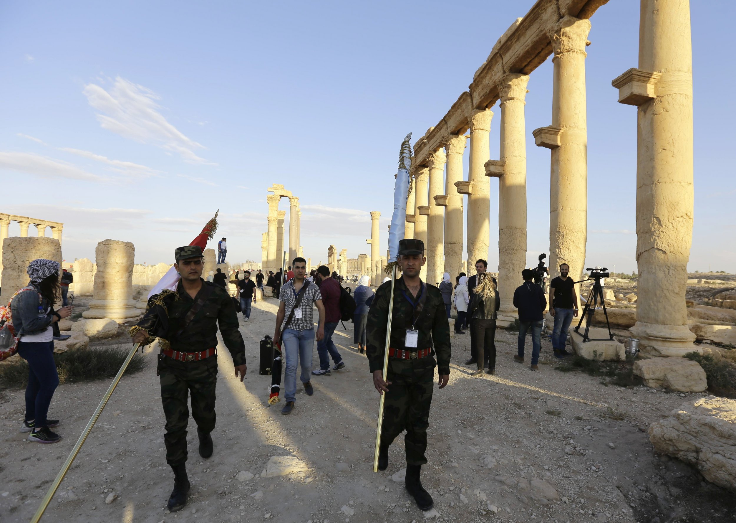 Syria government troops in Palmyra