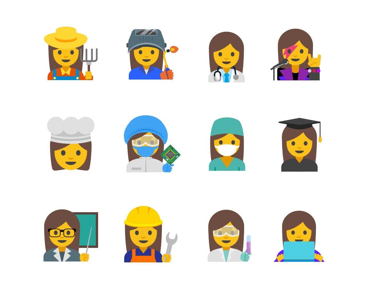 Google's proposed new female emojis