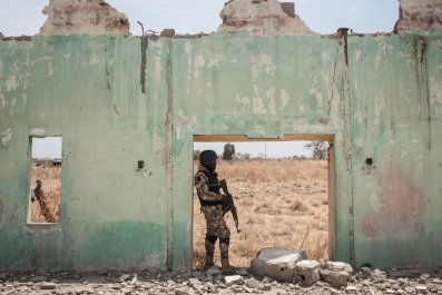 Nigerian soldier at Chibok school