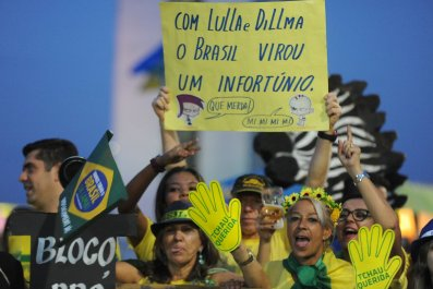 Anti-Rousseff demonstrators in Brazil.