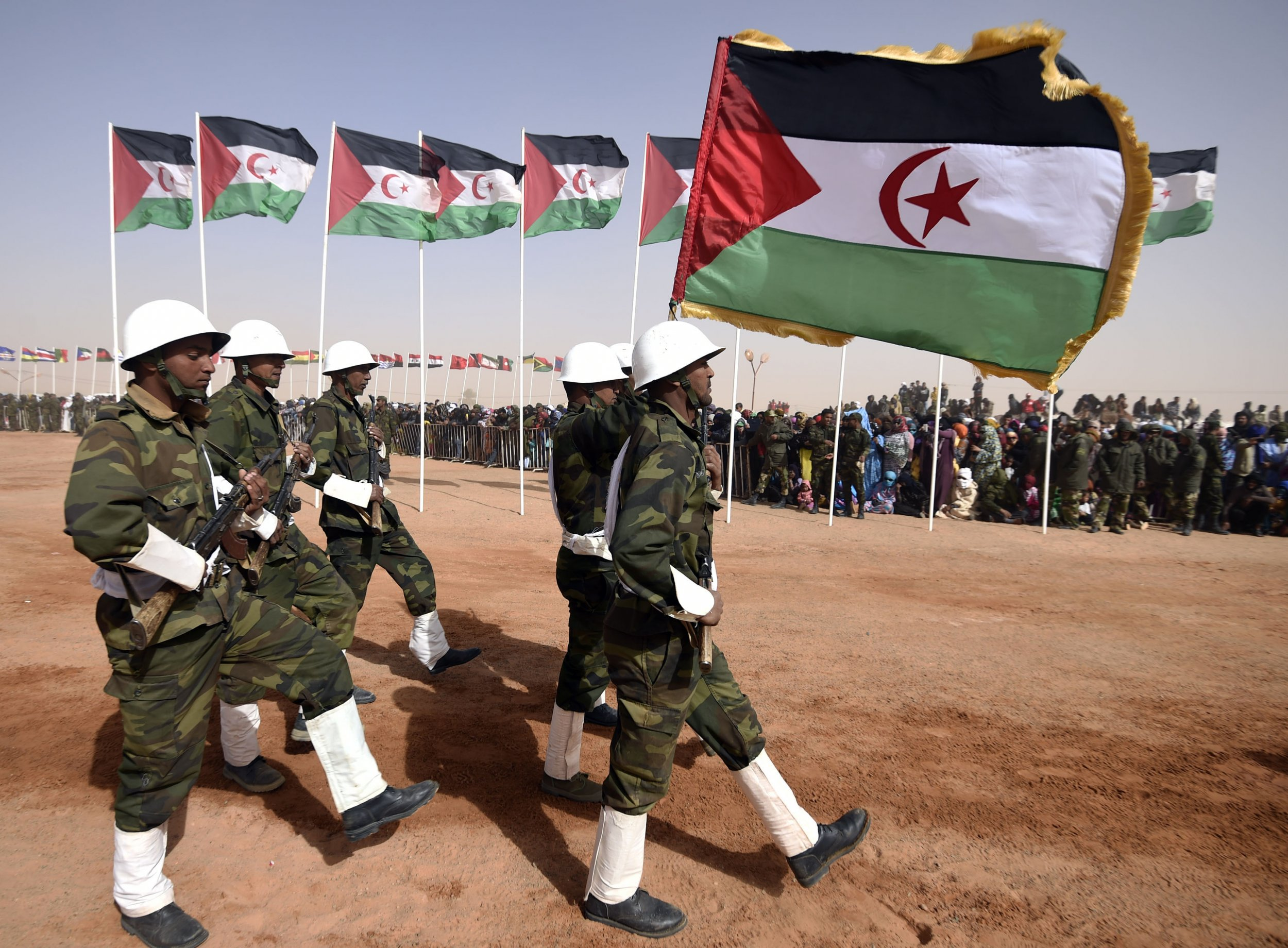 Sahrawi soldiers parade in Algeria.