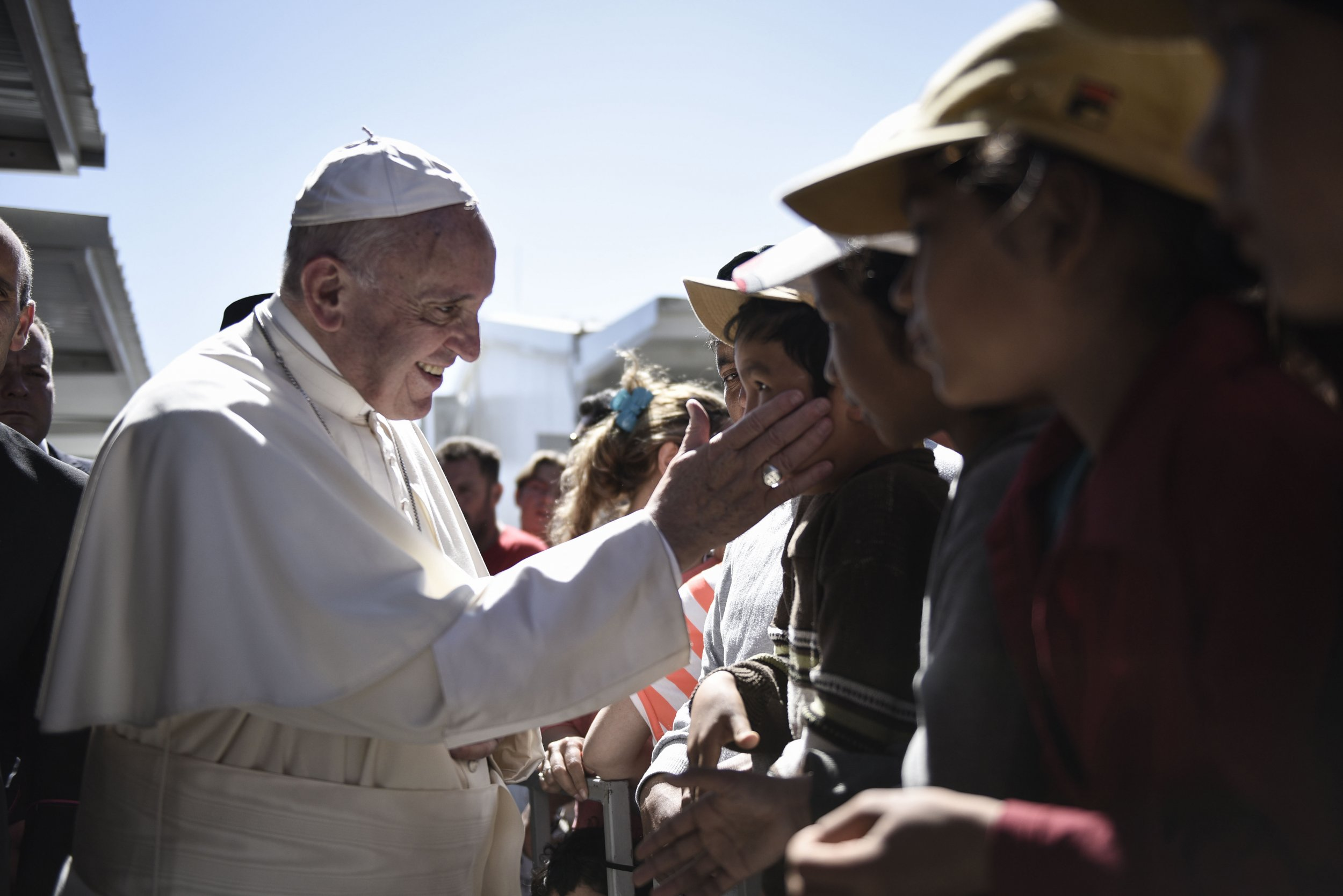 Pope Francis meets migrants in Lesbos.