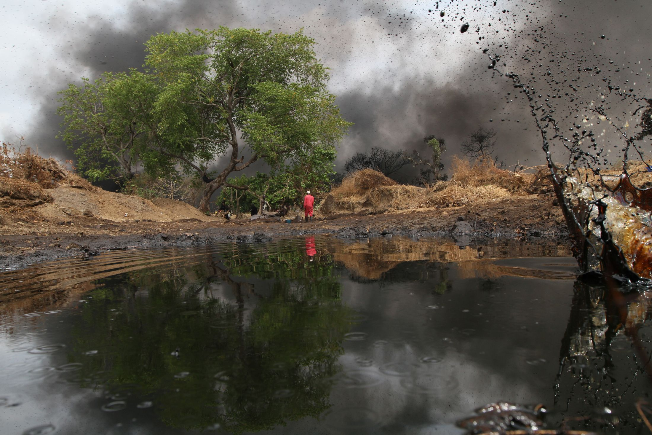 Oil spills from a pipeline in the Niger Delta.