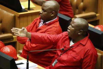 EFF leader Julius Malema speaks in parliament.