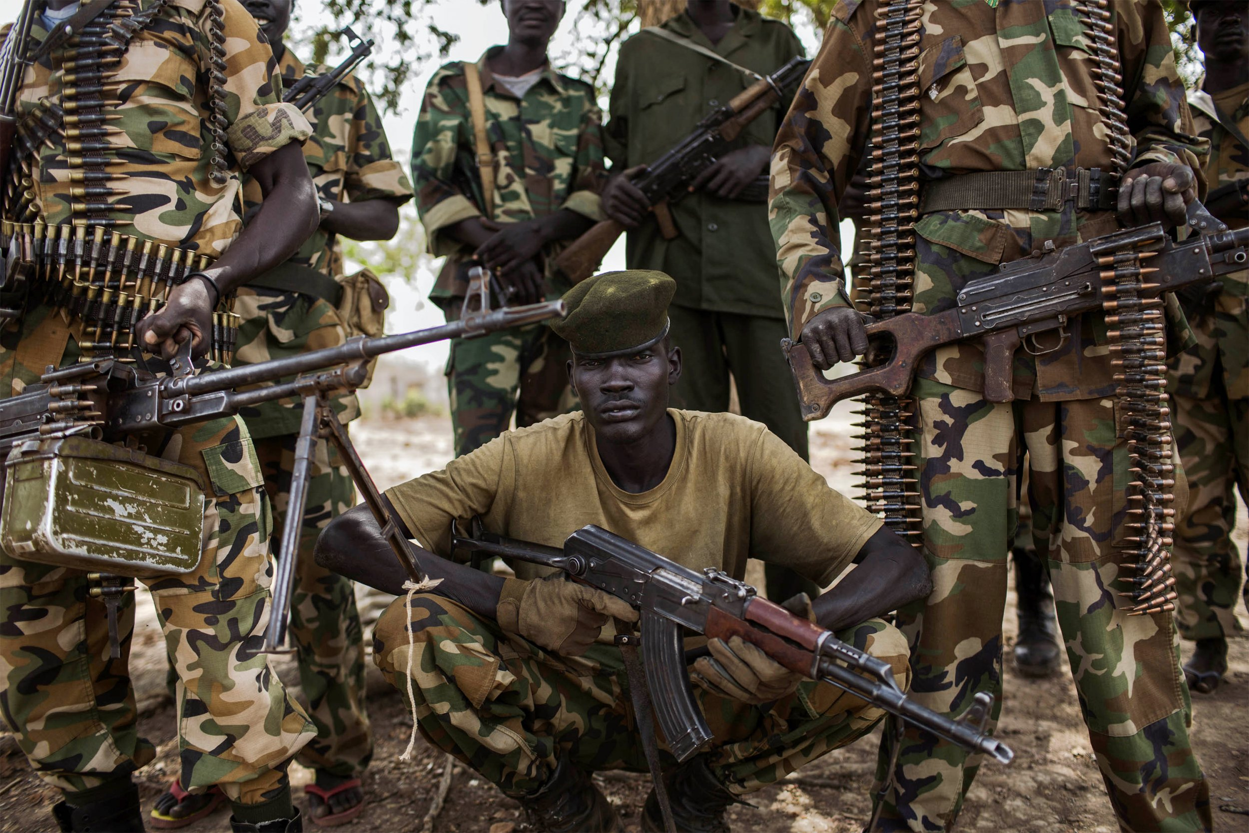 South Sudanese soldiers pose at headquarters.