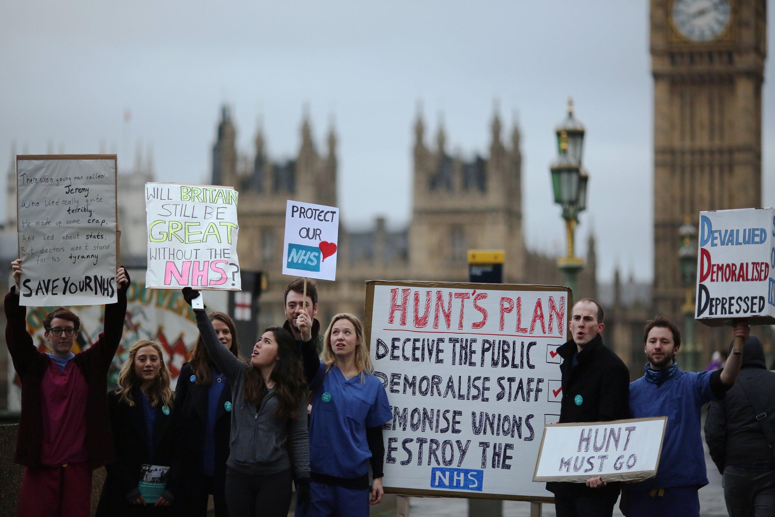 Junior doctors on strike in London.