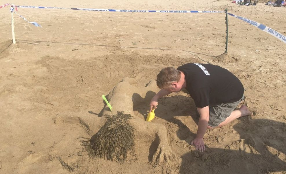 Sand sculpture by Devon and Cornwall Police