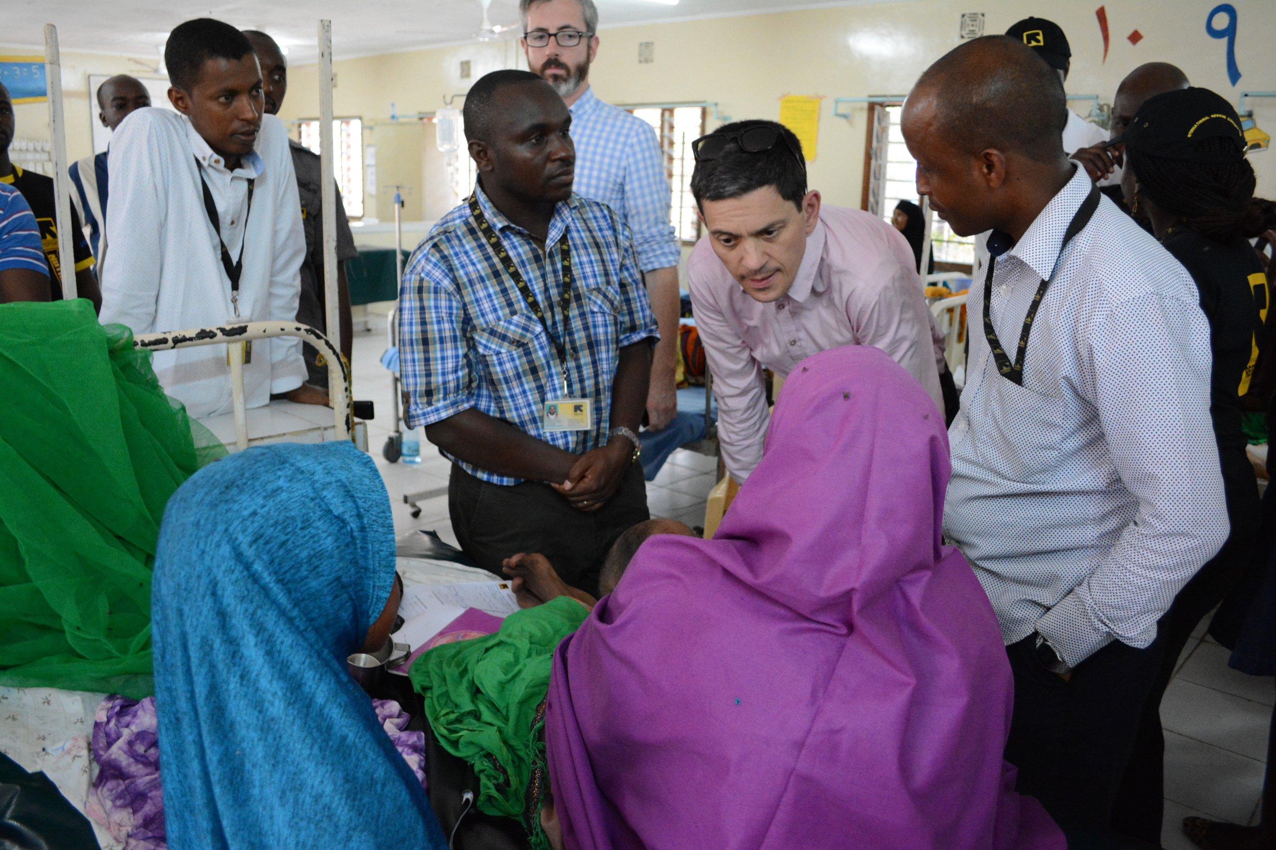 David Miliband visiting IRC hospital.