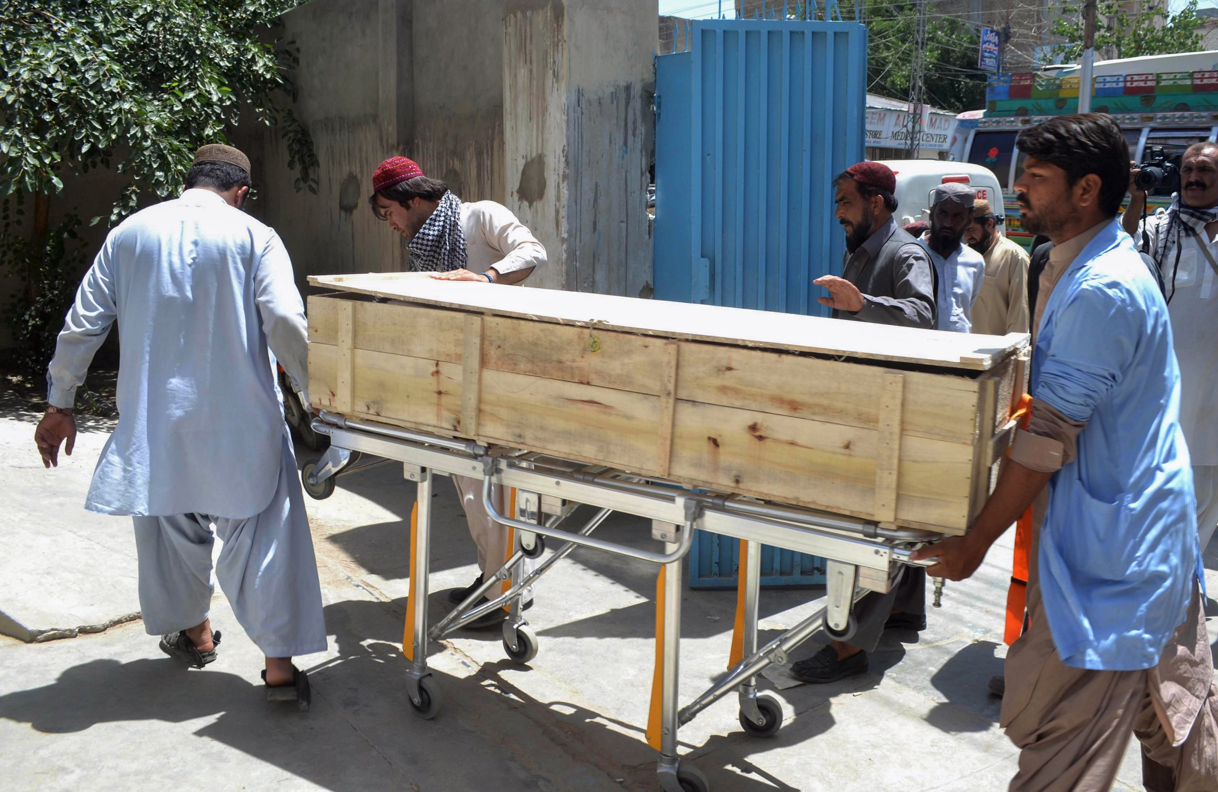 Dead body being transferred in Pakistan after air strike