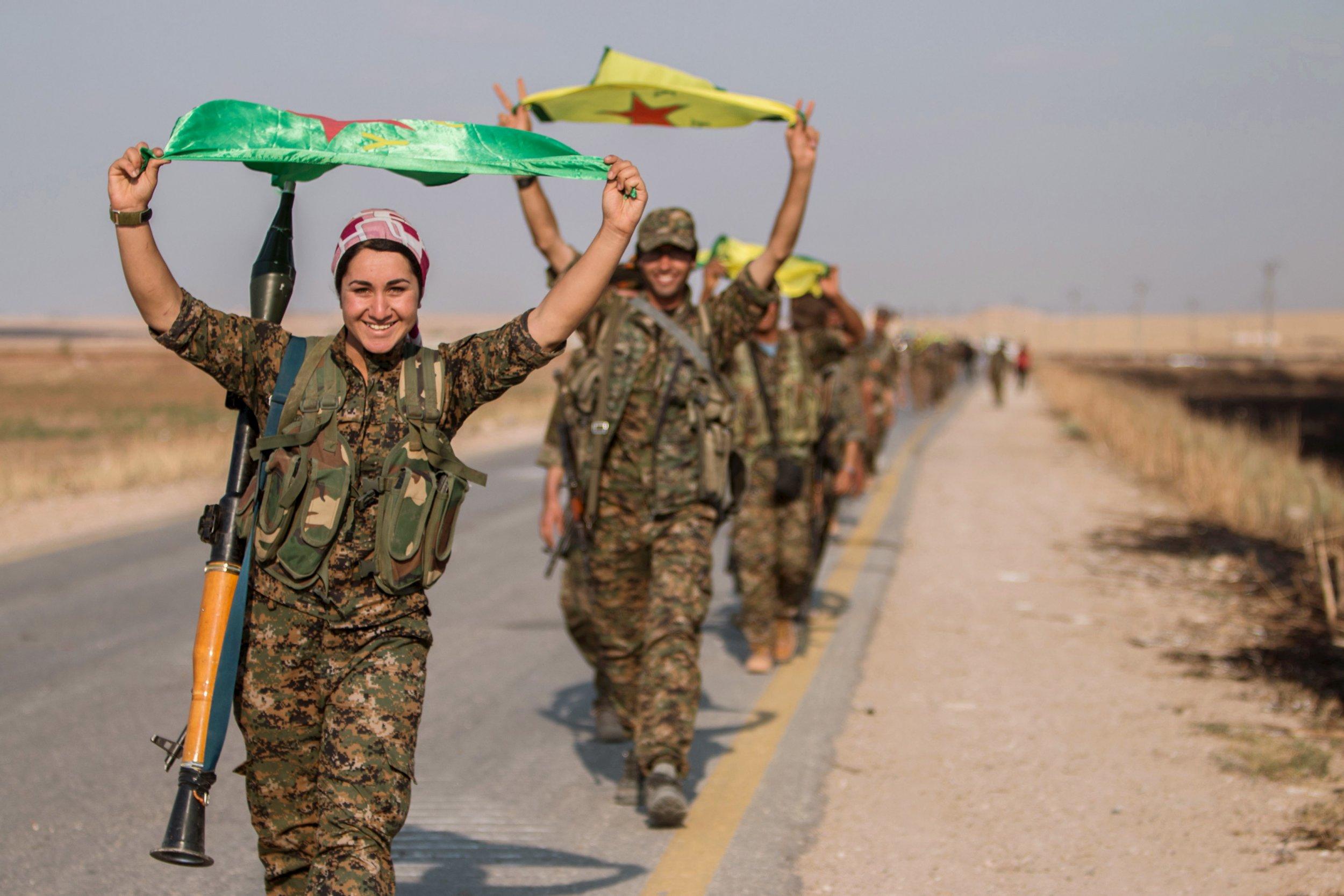 Syrian Kurdish fighters in Raqqa
