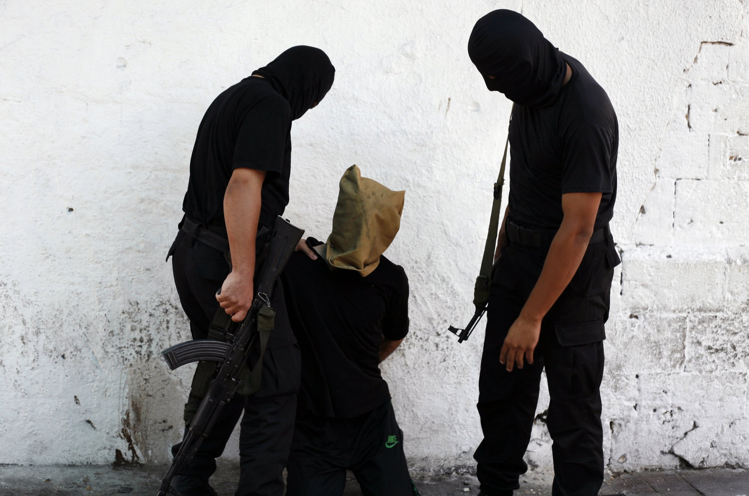 Hamas militants before execution