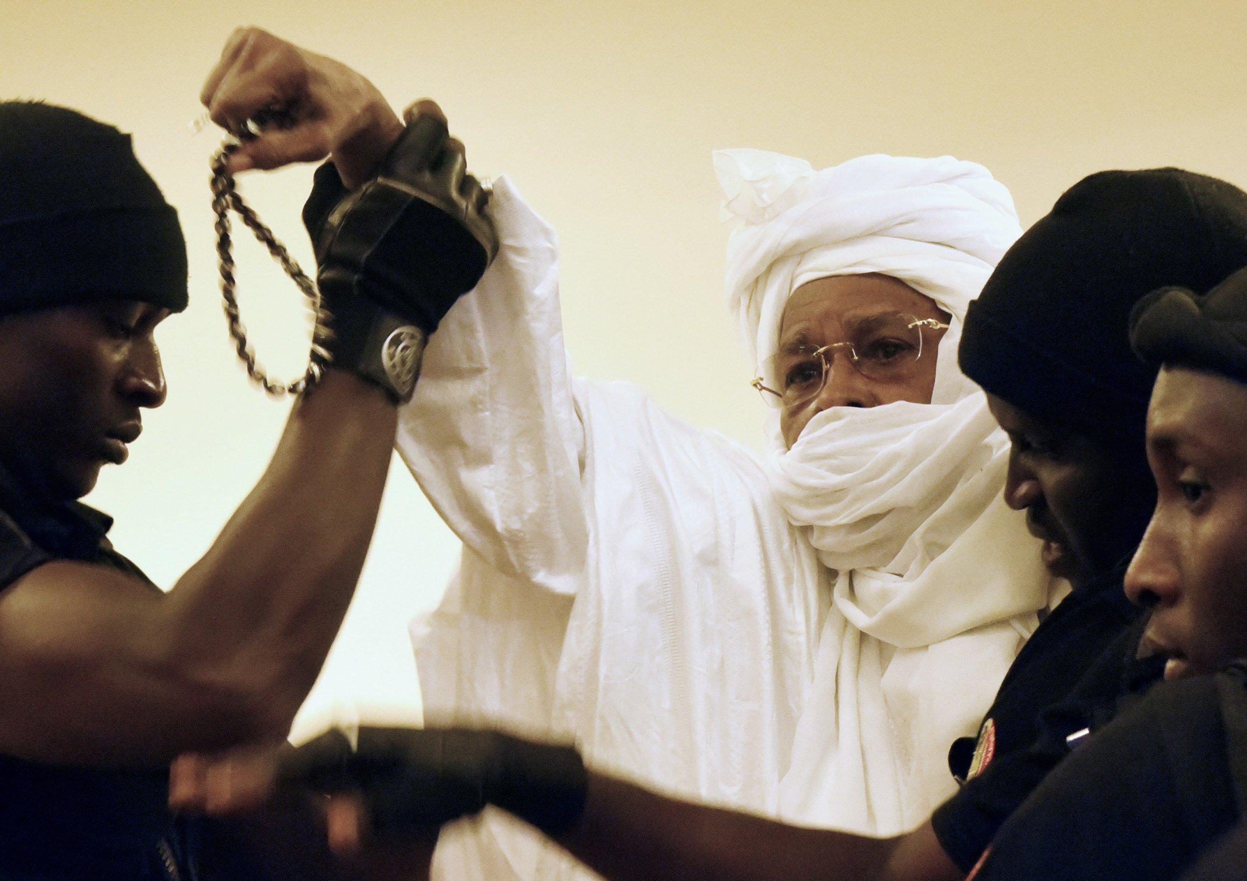 Ex-Chadian dictator Hissene Habre in court.
