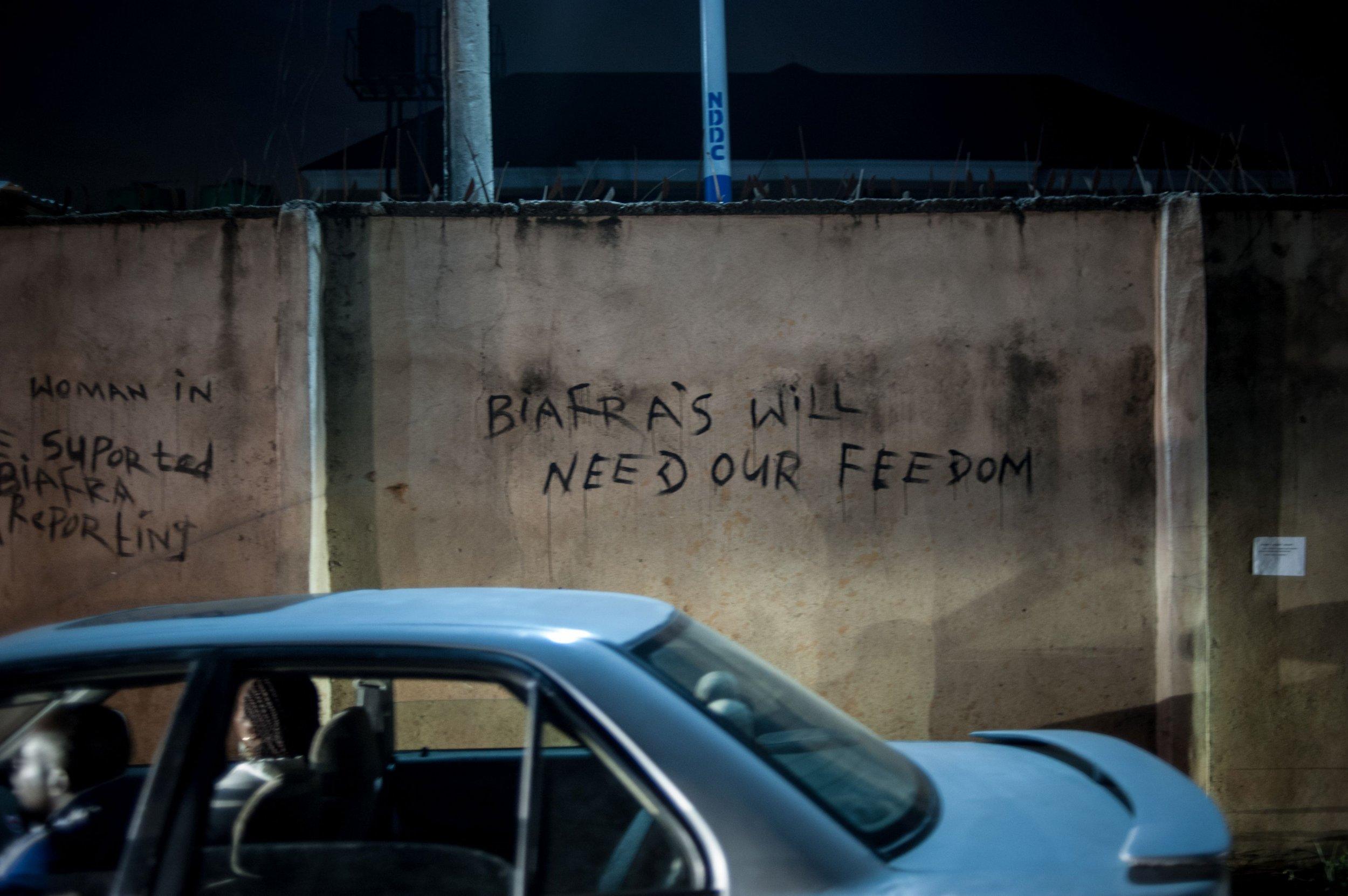 Pro-Biafra graffiti in Port Harcourt.