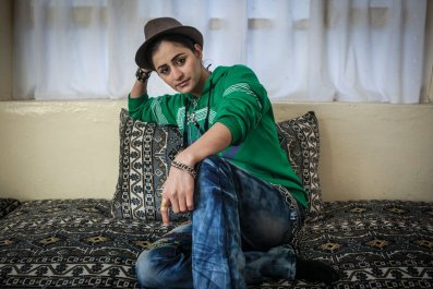 Afghan female rapper Susan Feroz at her house in Kabul.