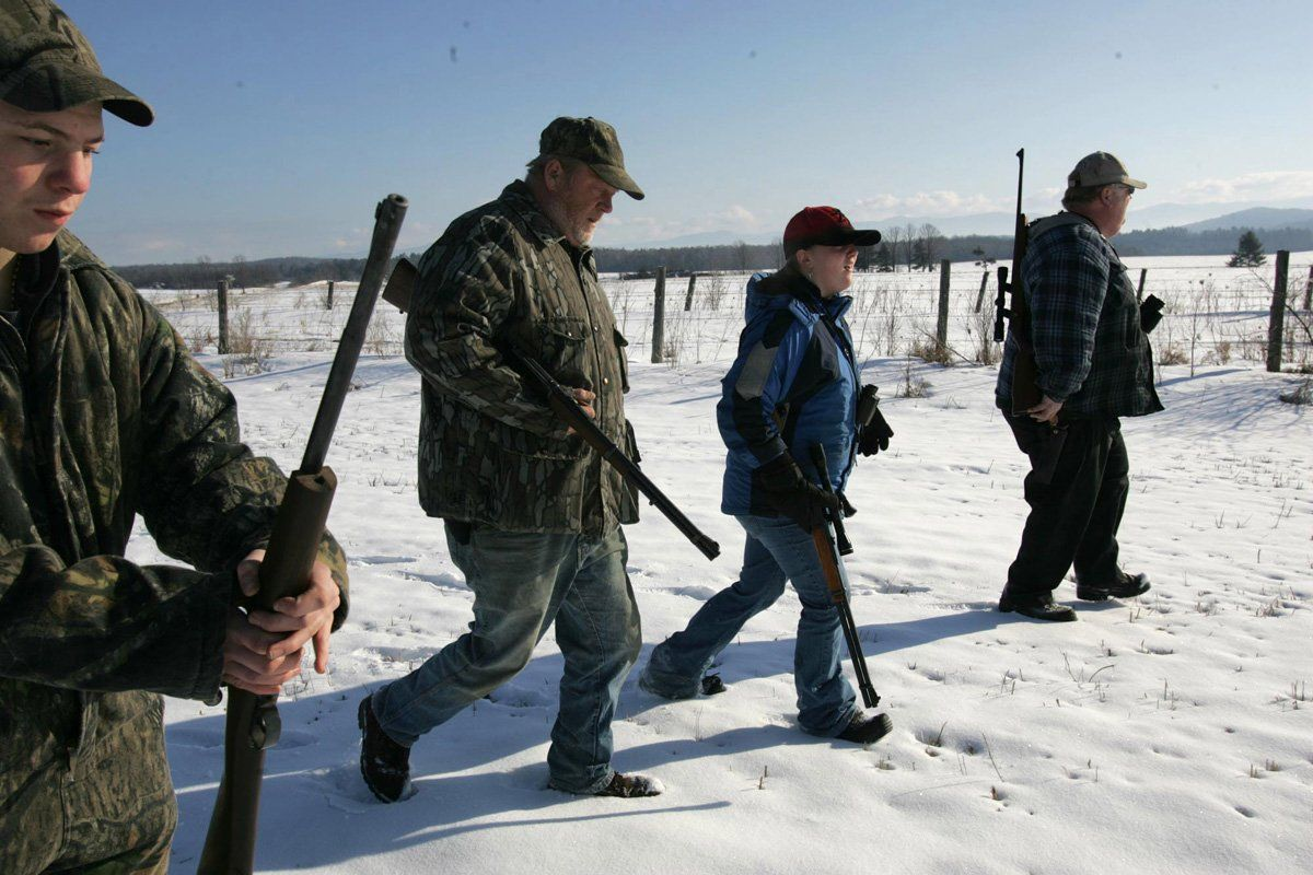Family on coyote hunt