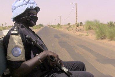 Malian police on patrol with MINUSMA.