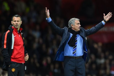 Ryan Giggs, left, with Manchester United manager Jose Mourinho