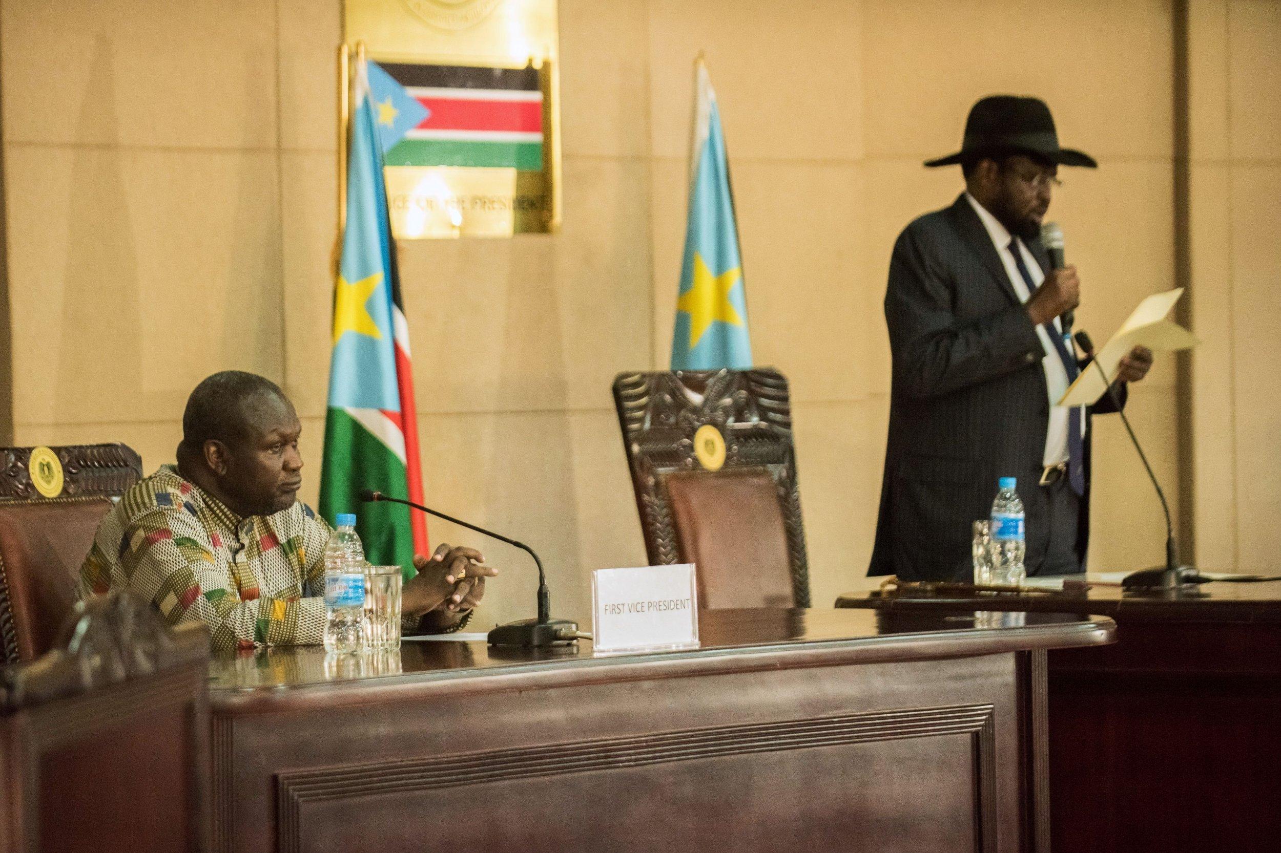 South Sudan President Salva Kiir speaks as Riek Machar sworn in