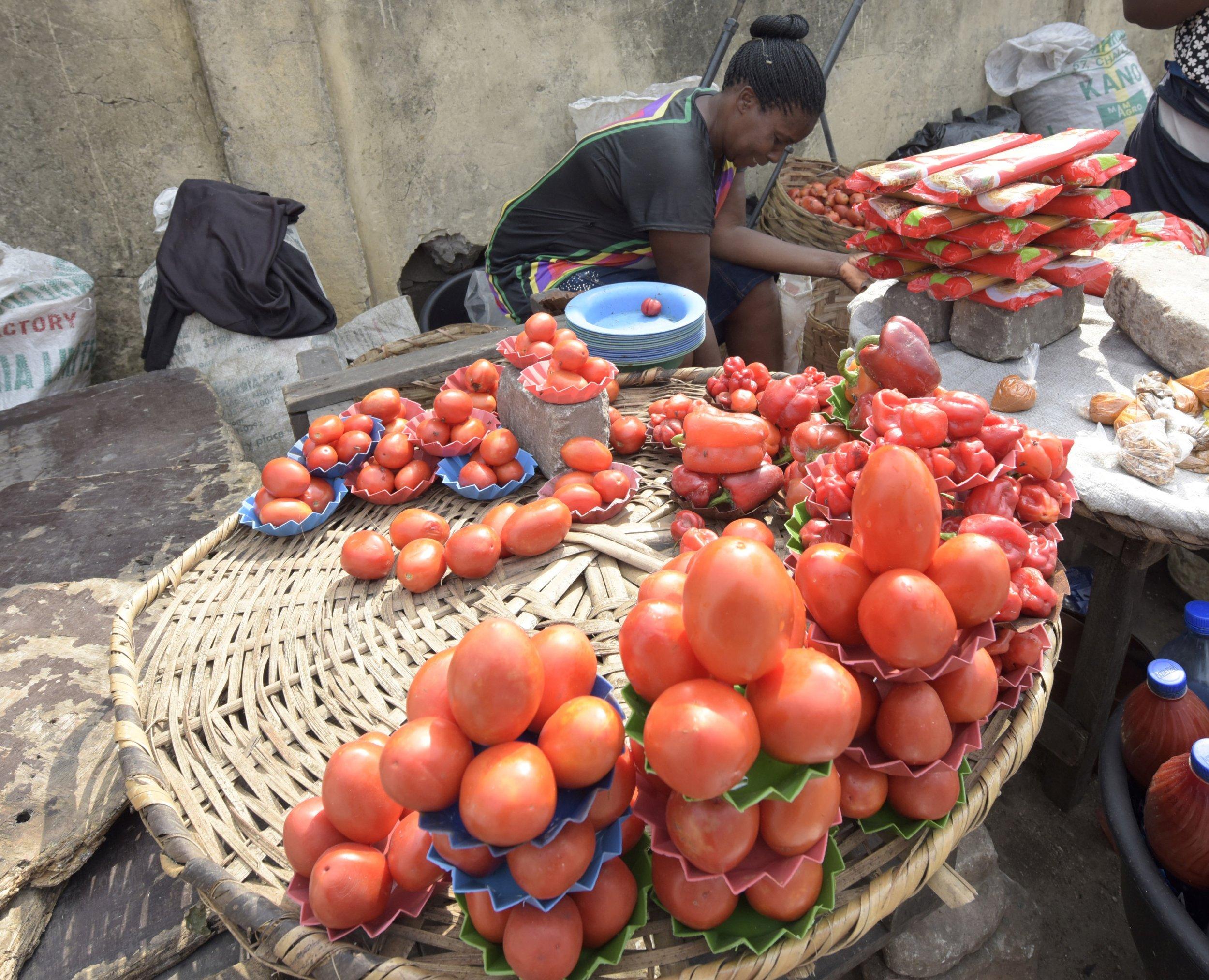Nigeria tomato vendor.
