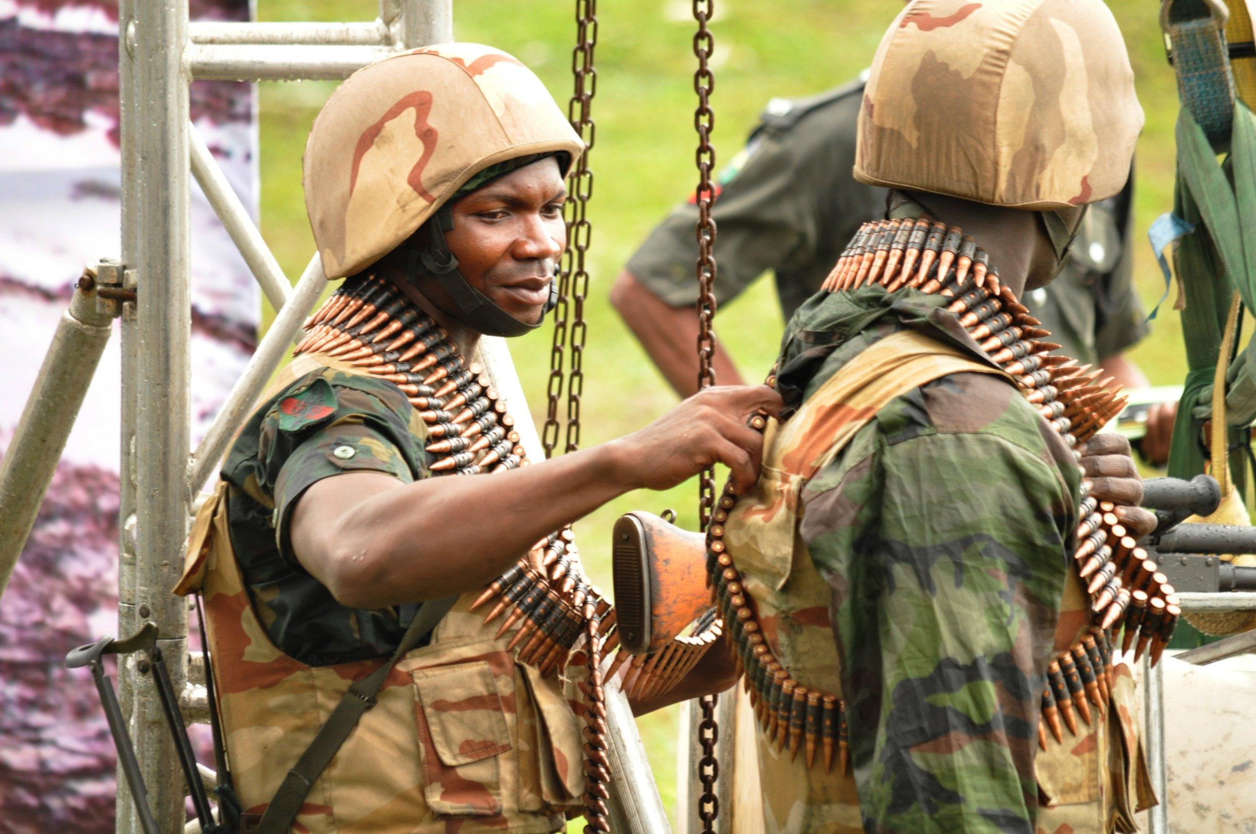 Nigerian soldiers in Niger Delta.