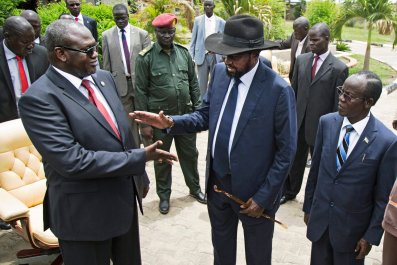 Riek Machar and Salva Kiir in South Sudan.
