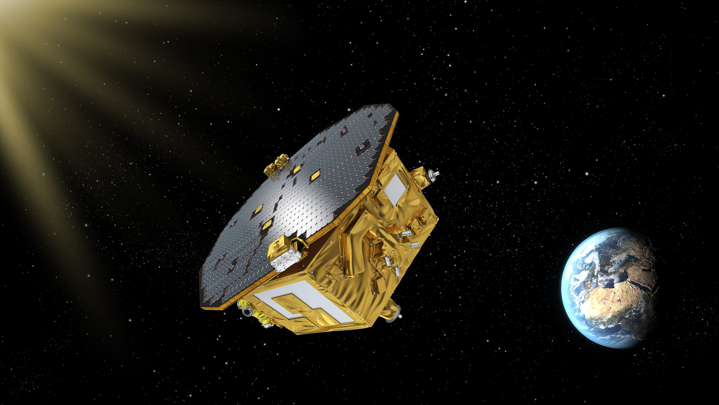 An artist's rendition of the LISA Pathfinder ship in space above Earth