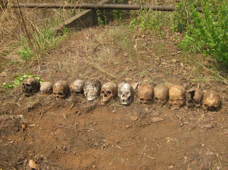 Skulls found in mass grave.