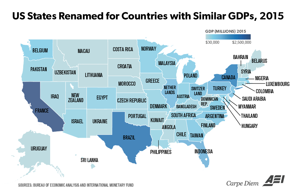 Economic Output If States Were Countries California Would Be France
