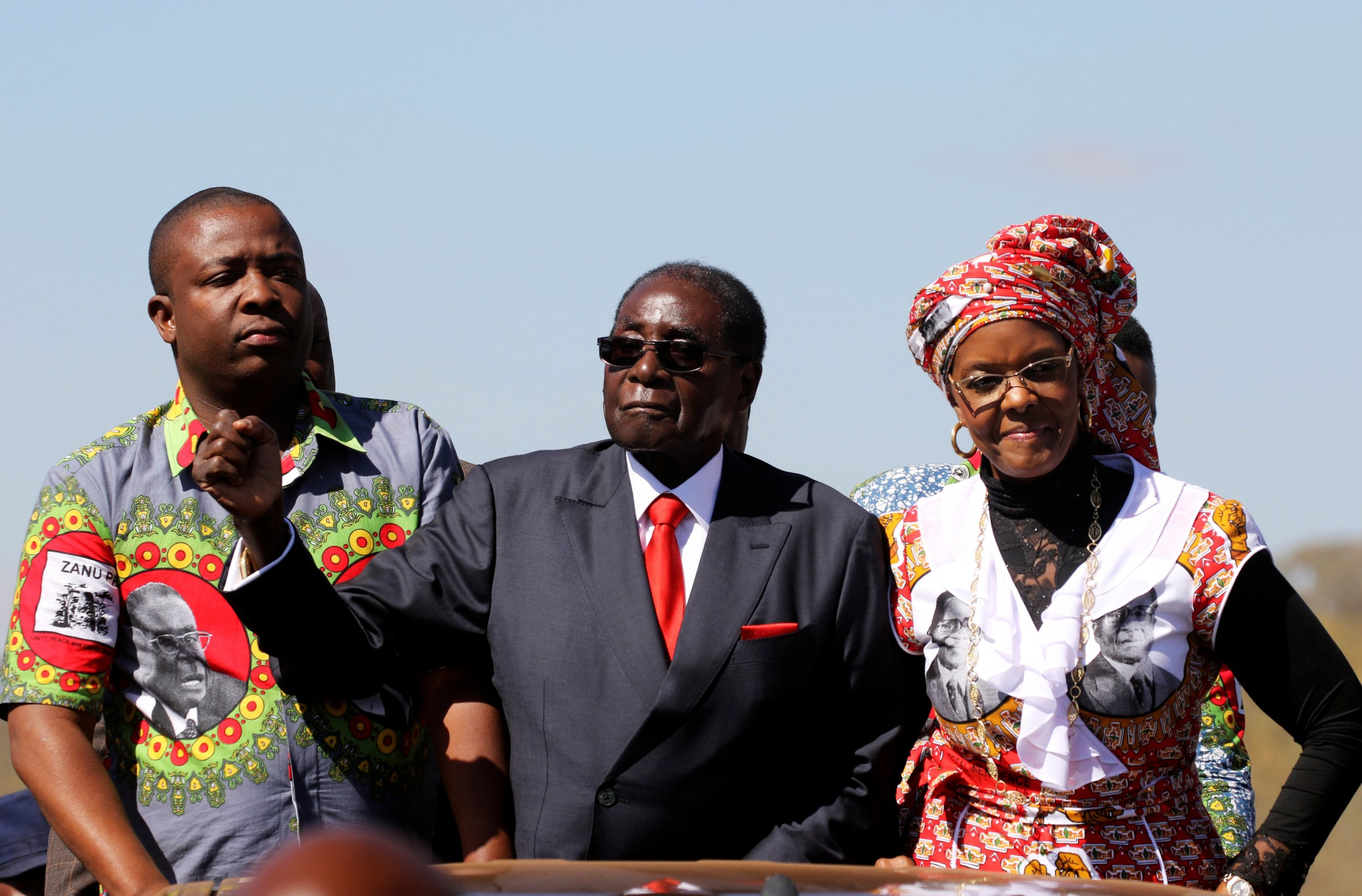 Robert and Grace Mugabe greet supporters
