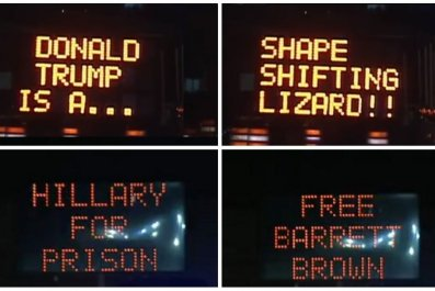 donald trump hackers road signs Anonymous