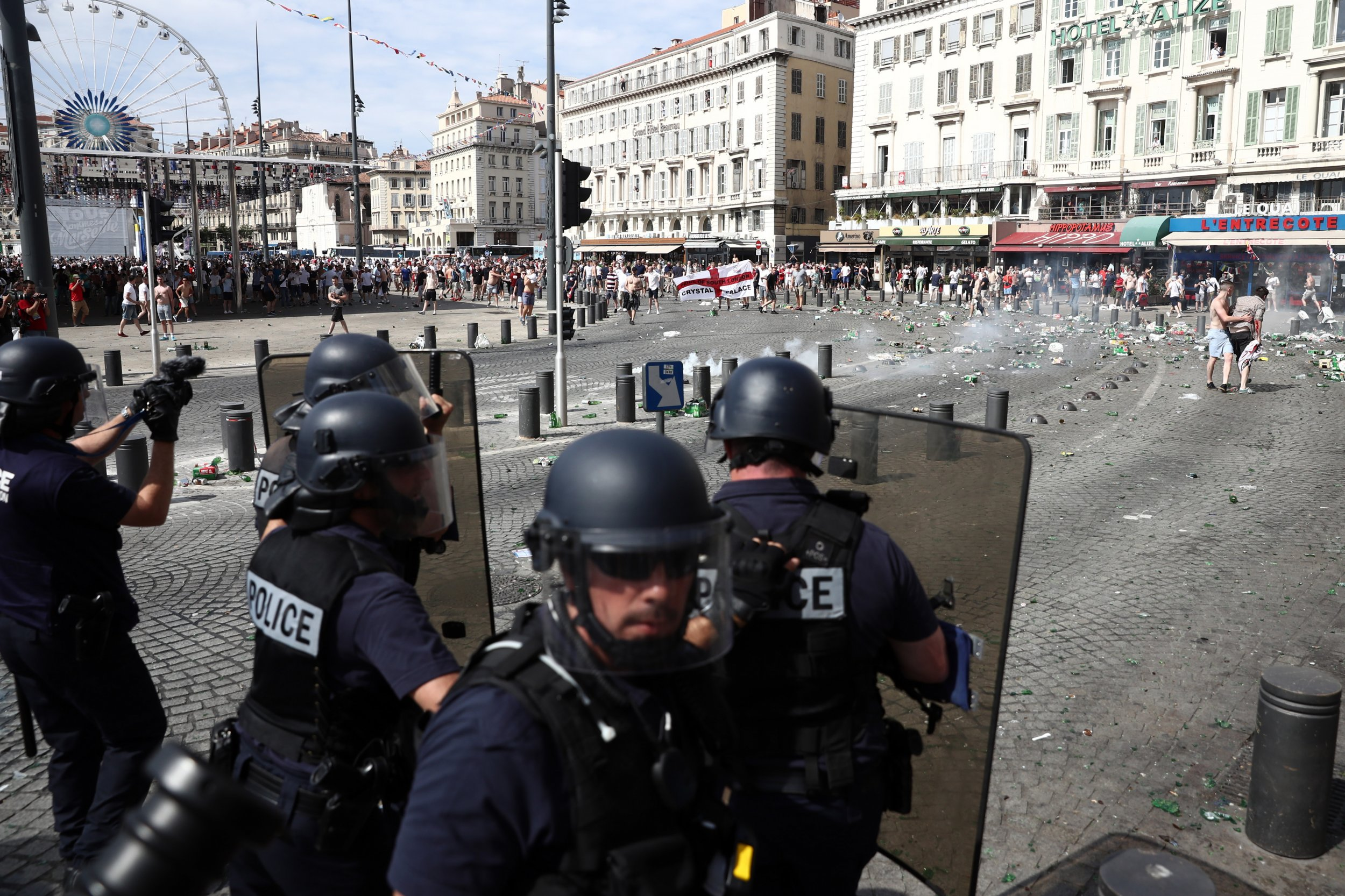 England fans clash with police in Marseille.