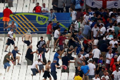 Fans clash at Stade Velodrome, Marseille