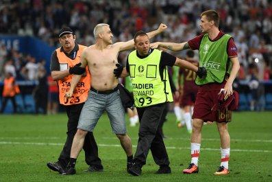 Pitch invader at Stade Velodrome, Marseille,