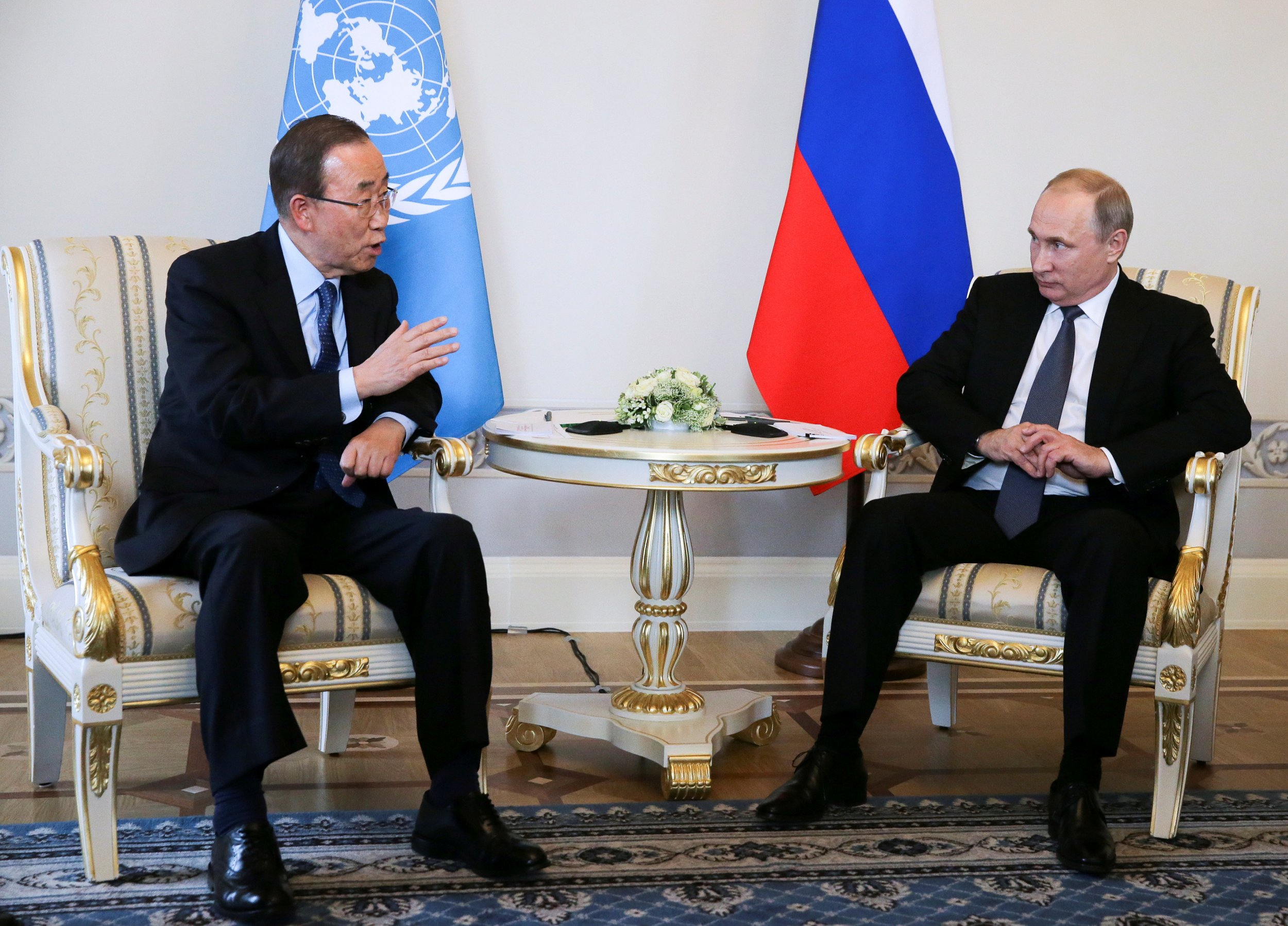 Vladimir Putin and Ban Ki-moon