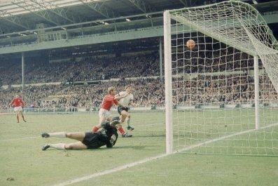 England striker Geoff Hurst, center, during the 1966 World Cup final