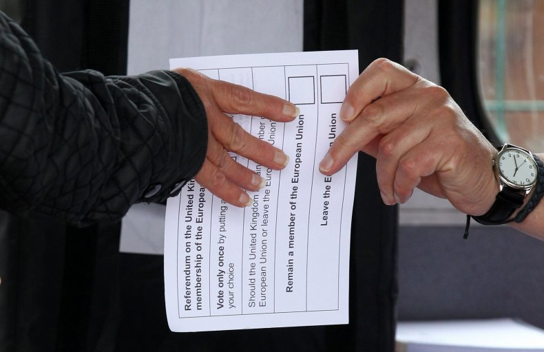 British voter receives voting slip for referendum