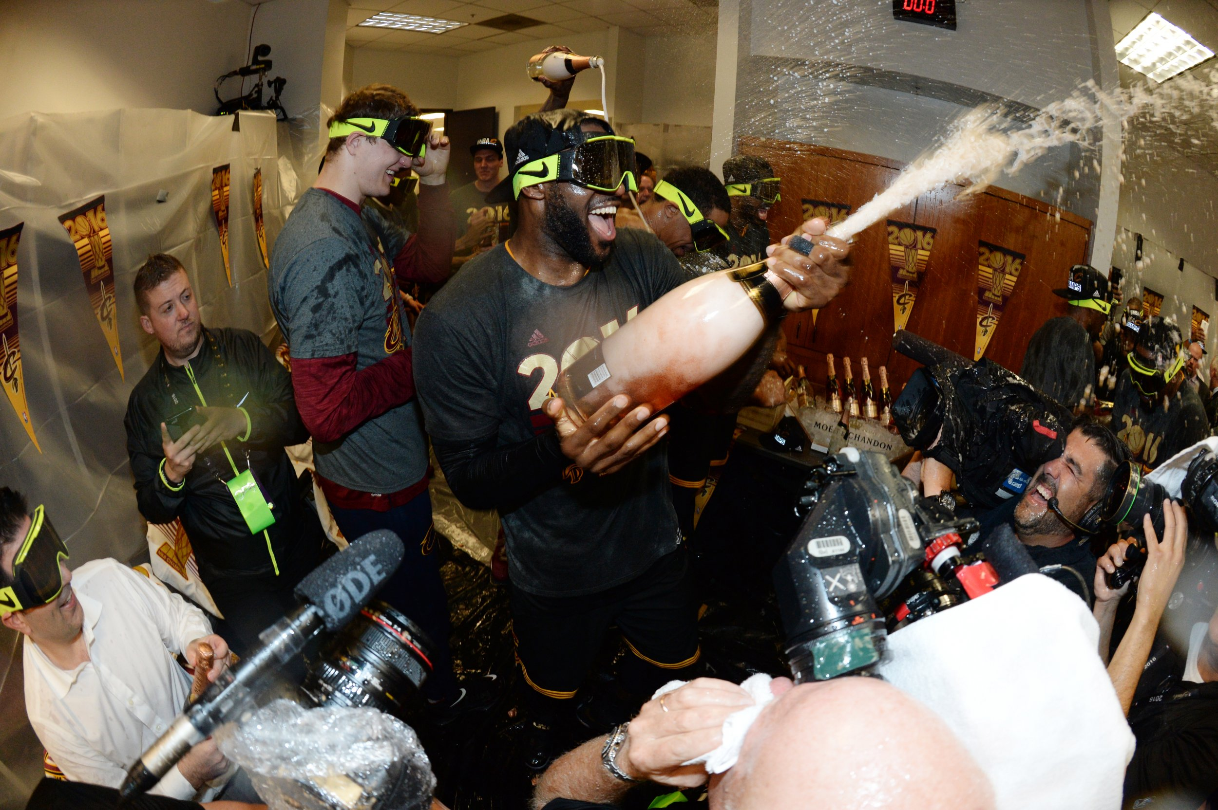 Talking With the Man Who Has Photographed the Last 34 NBA Finals Locker Room Celebrations