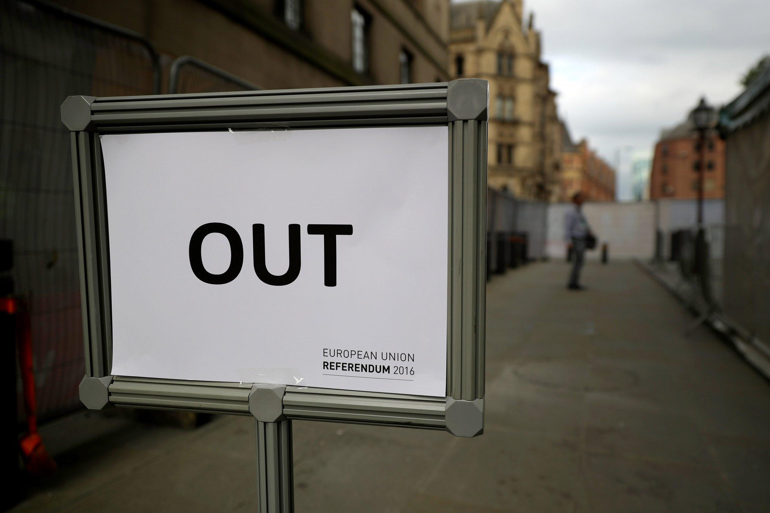 EU Referendum 'Out' exit sign