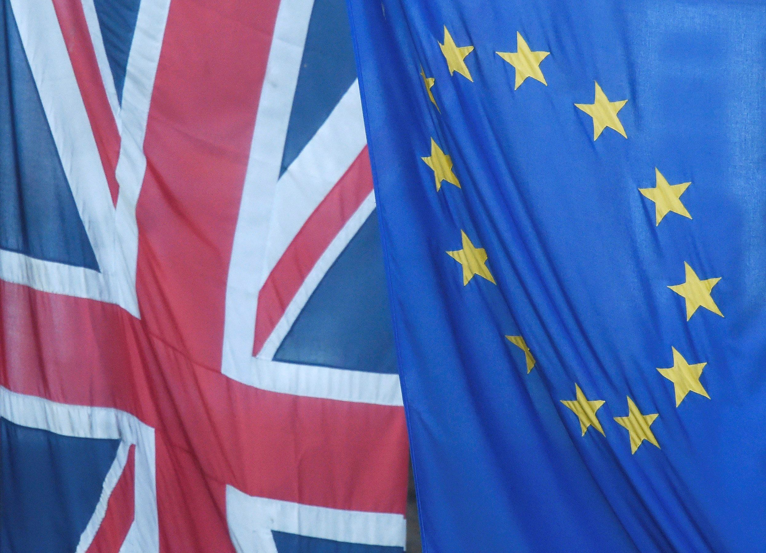 Union Jack and EU flags