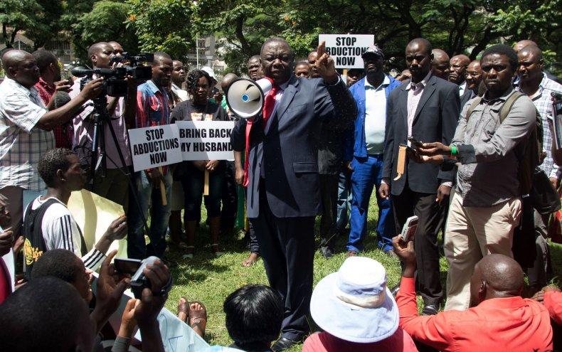 Morgan Tsvangirai at Itai Dzamara rally