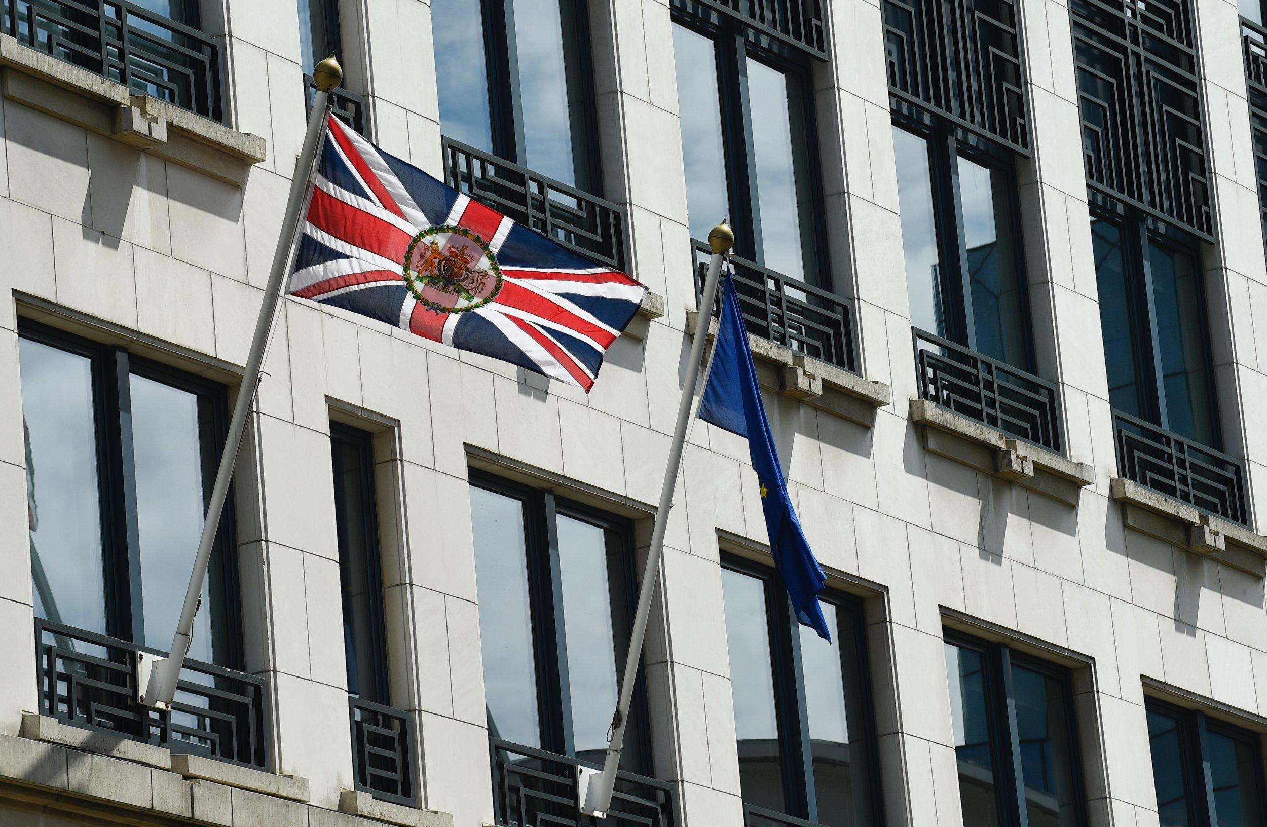 U.K. and EU flags in Brussels